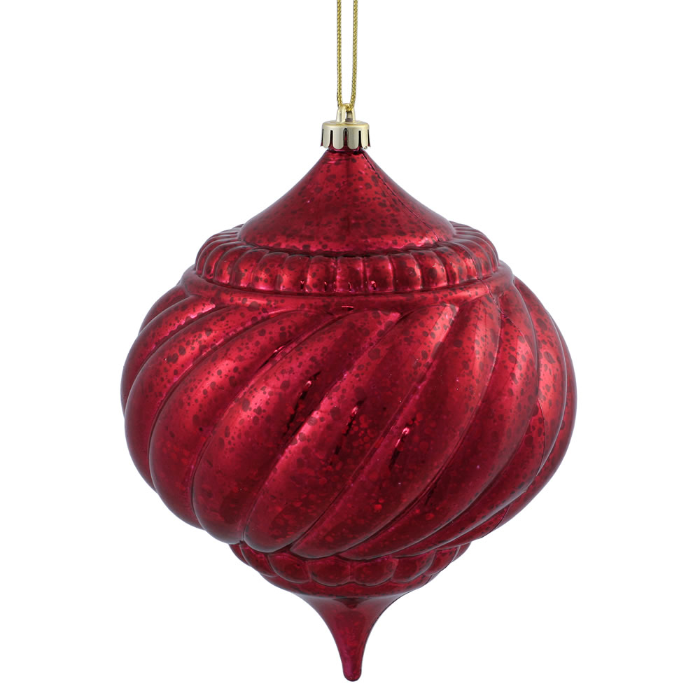 8 Inch Burgundy Shiny Mercury Christmas Onion Spiral Ornament Shatterproof