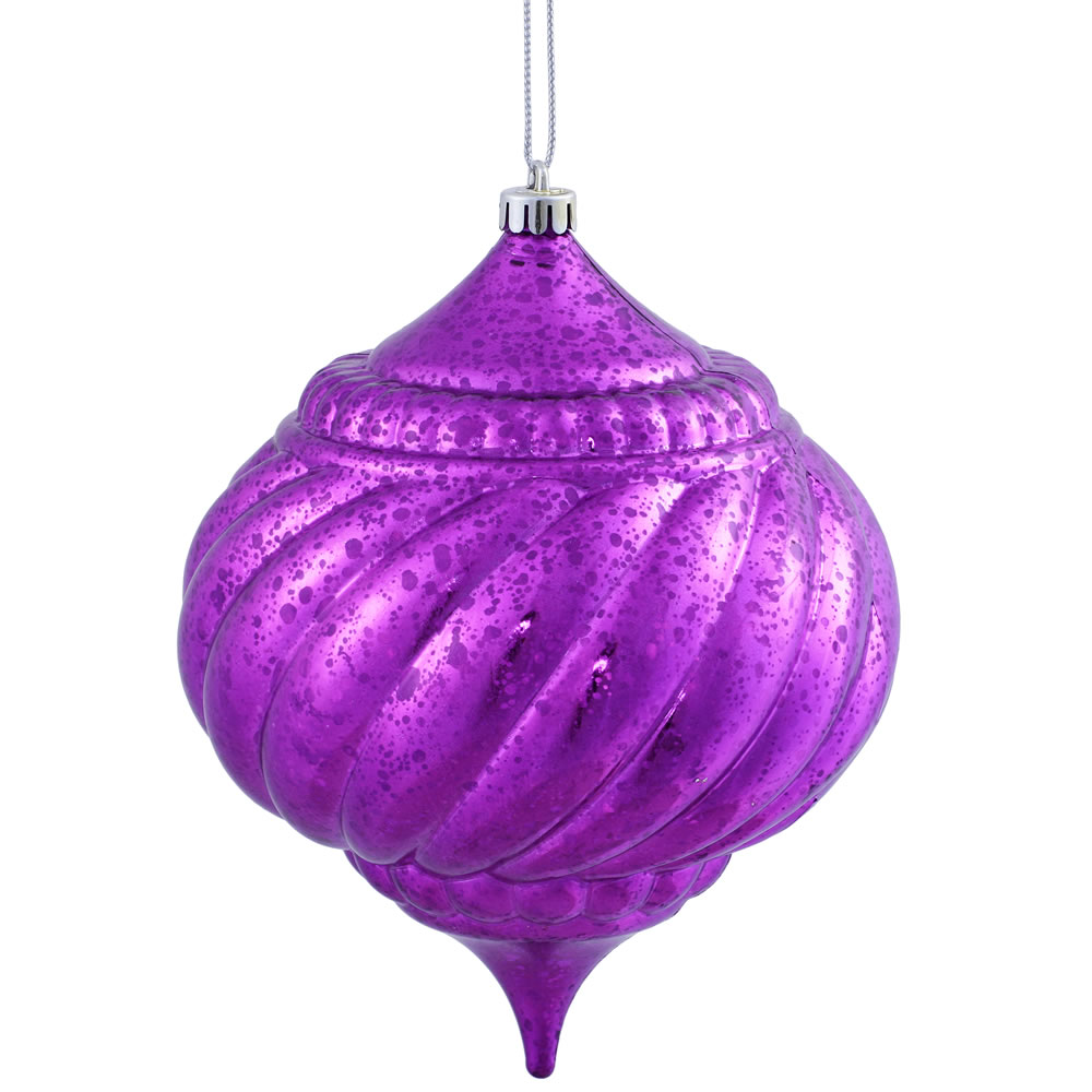 8 Inch Purple Shiny Mercury Christmas Onion Spiral Ornament Shatterproof