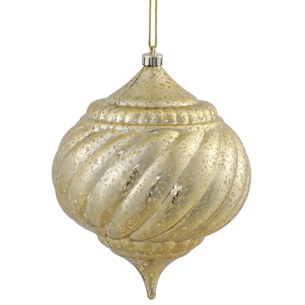 8 Inch Gold Shiny Mercury Christmas Onion Spiral Ornament Shatterproof