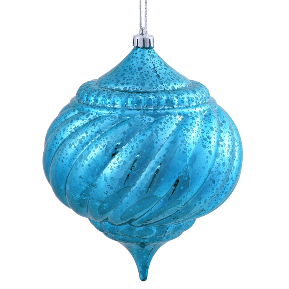 8 Inch Turquoise Shiny Mercury Christmas Onion Spiral Ornament Shatterproof