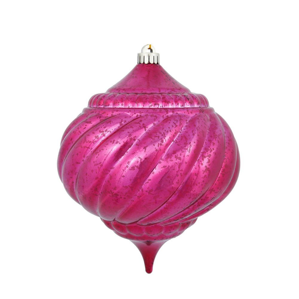 8 Inch Wine Shiny Mercury Christmas Onion Spiral Ornament Shatterproof