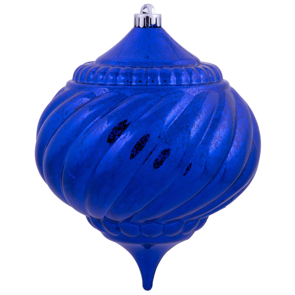 8 Inch Cobalt Blue Shiny Mercury Christmas Onion Spiral Ornament Shatterproof