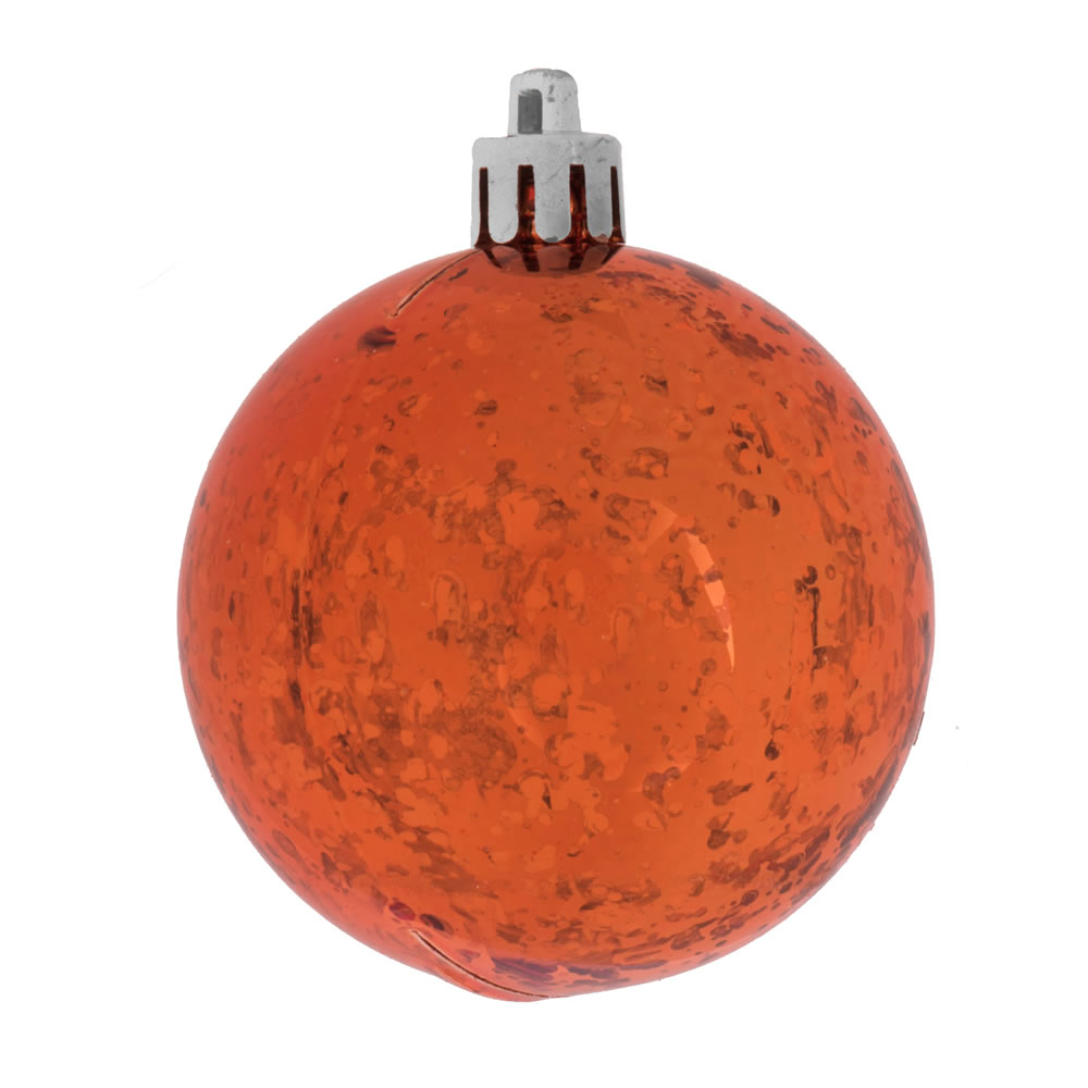 6 Inch Burnish Orange Shiny Mercury Christmas Ball Ornament Shatterproof Set of 4