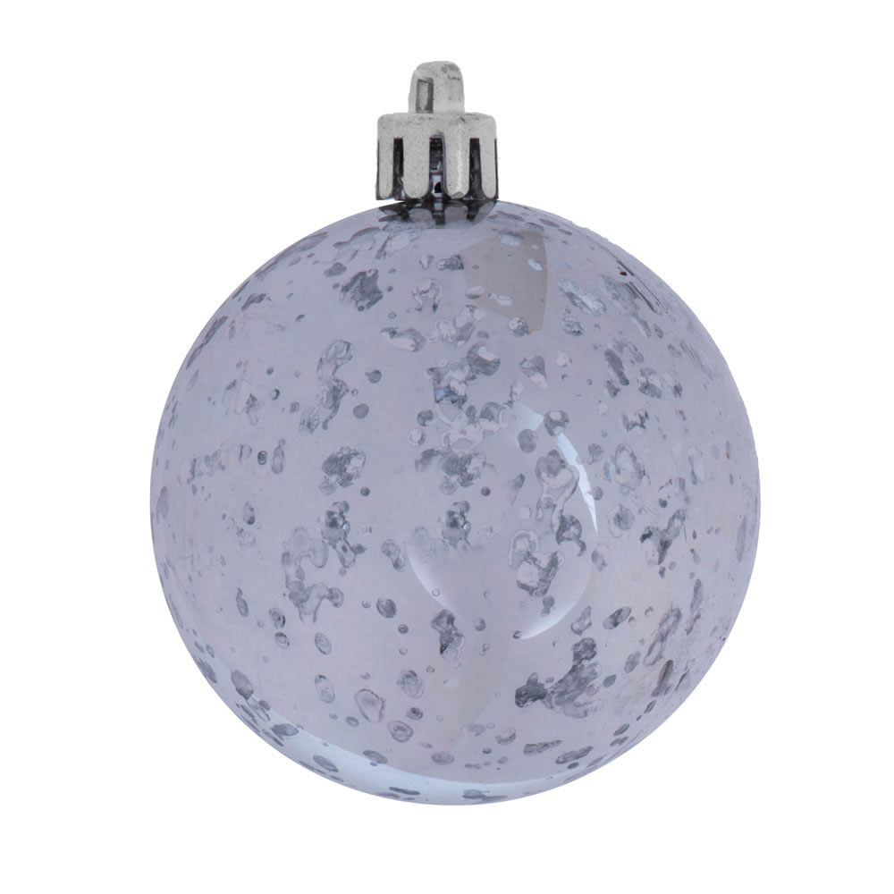 6 Inch Pewter Shiny Mercury Christmas Ball Ornament Shatterproof Set of 4