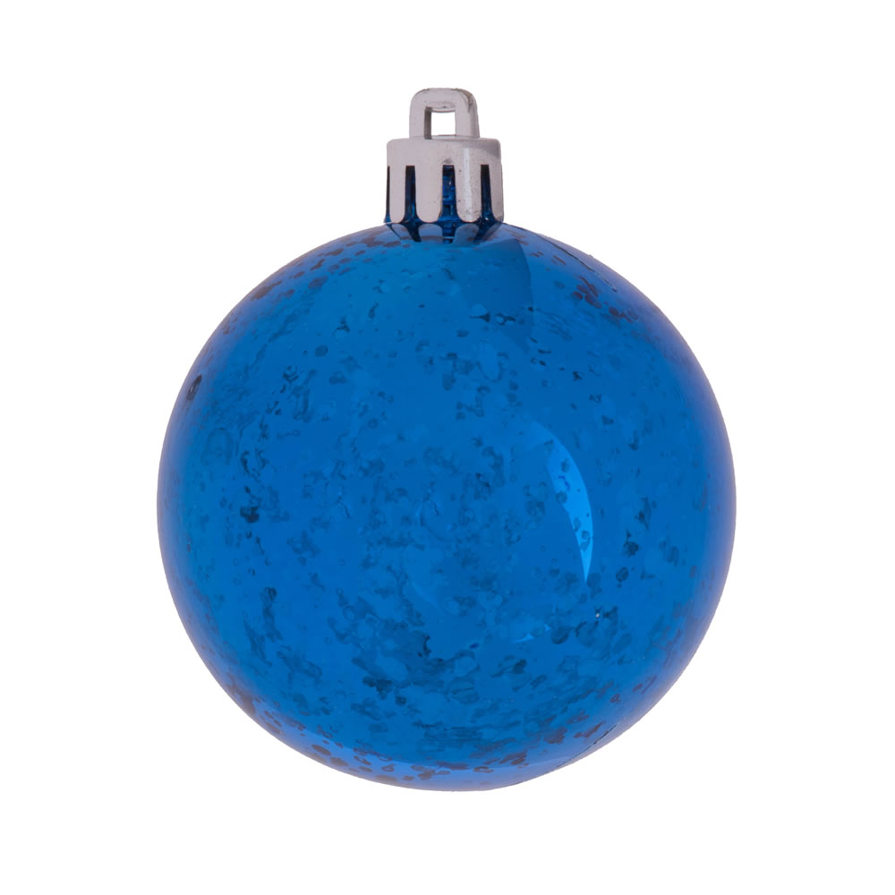 8 Inch Blue Shiny Mercury Christmas Ball Ornament Shatterproof