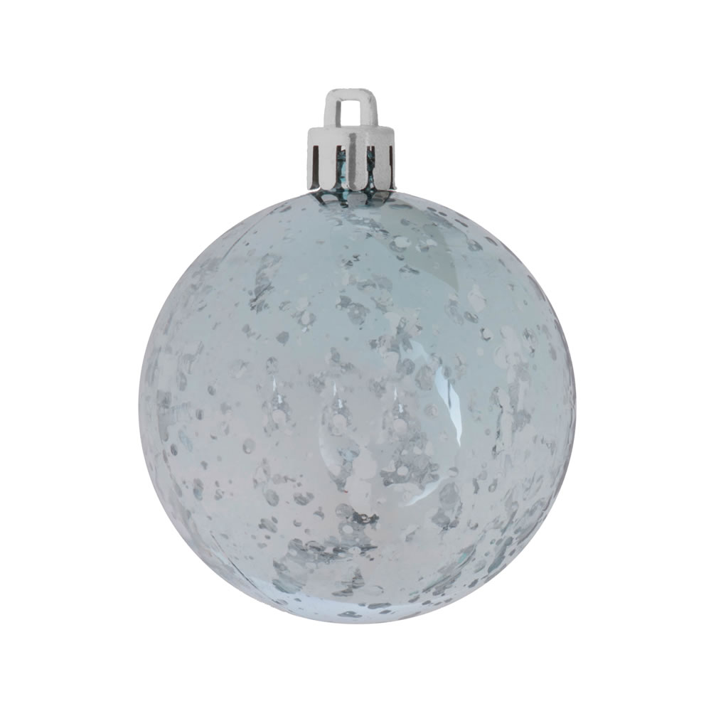 8 Inch Baby Blue Shiny Mercury Christmas Ball Ornament Shatterproof
