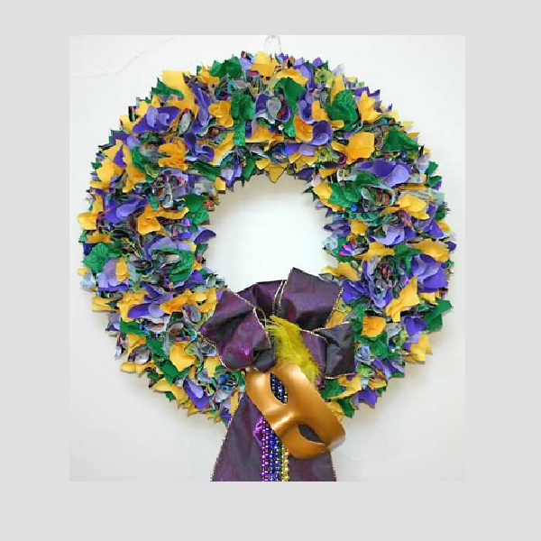 18 Inch Mardi Gras Fabric Wreath - Unlit