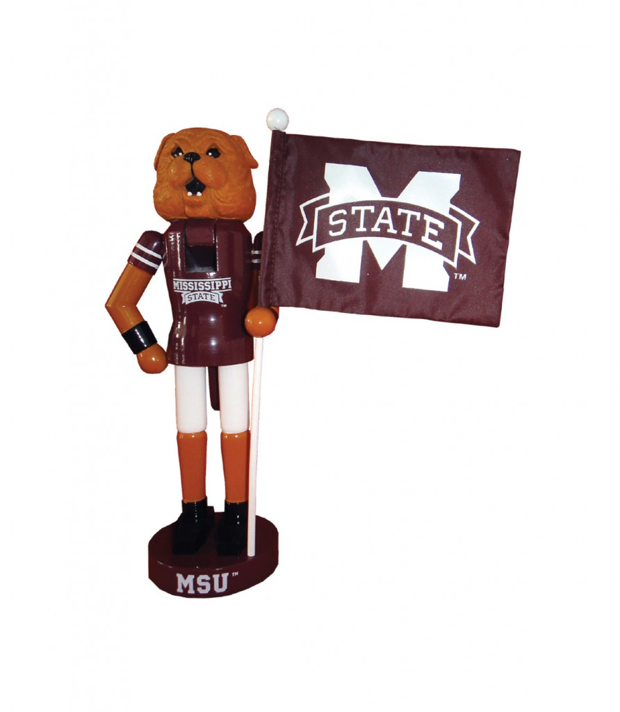 Mississippi State University Mascot with Flag Nutcracker Decoration