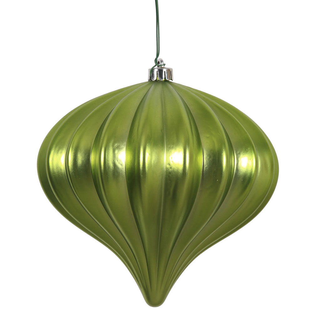 5.7 Inch Lime Matte Onion Ornament 3 per Set
