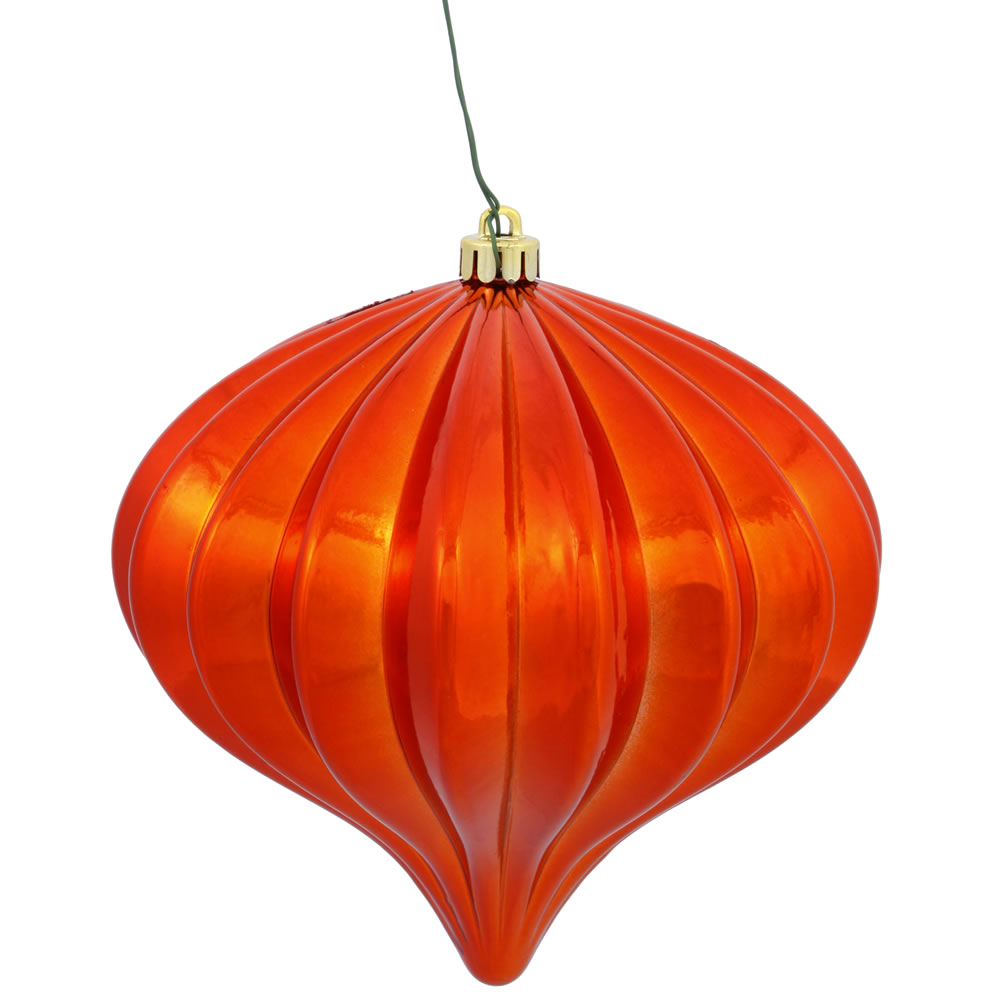 5.7 Inch Burnish Orange Shiny Onion Ornament 3 per Set