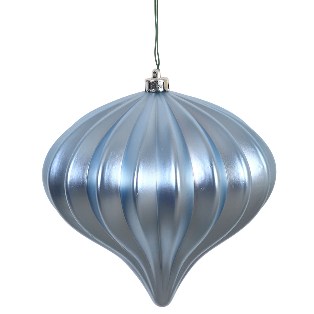 5.7 Inch Steel Blue Matte Onion Ornament 3 per Set