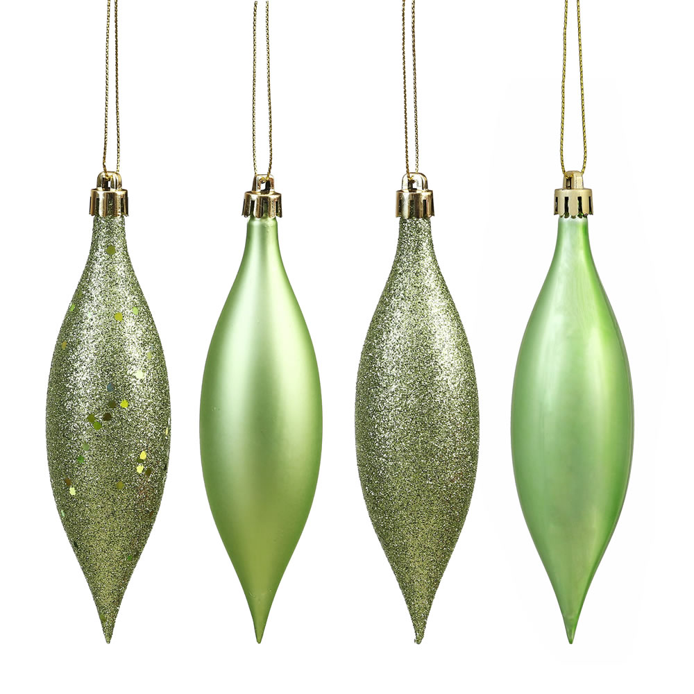 5.5 Inch Celadon Green Drop Christmas Ornament Assorted Finishes