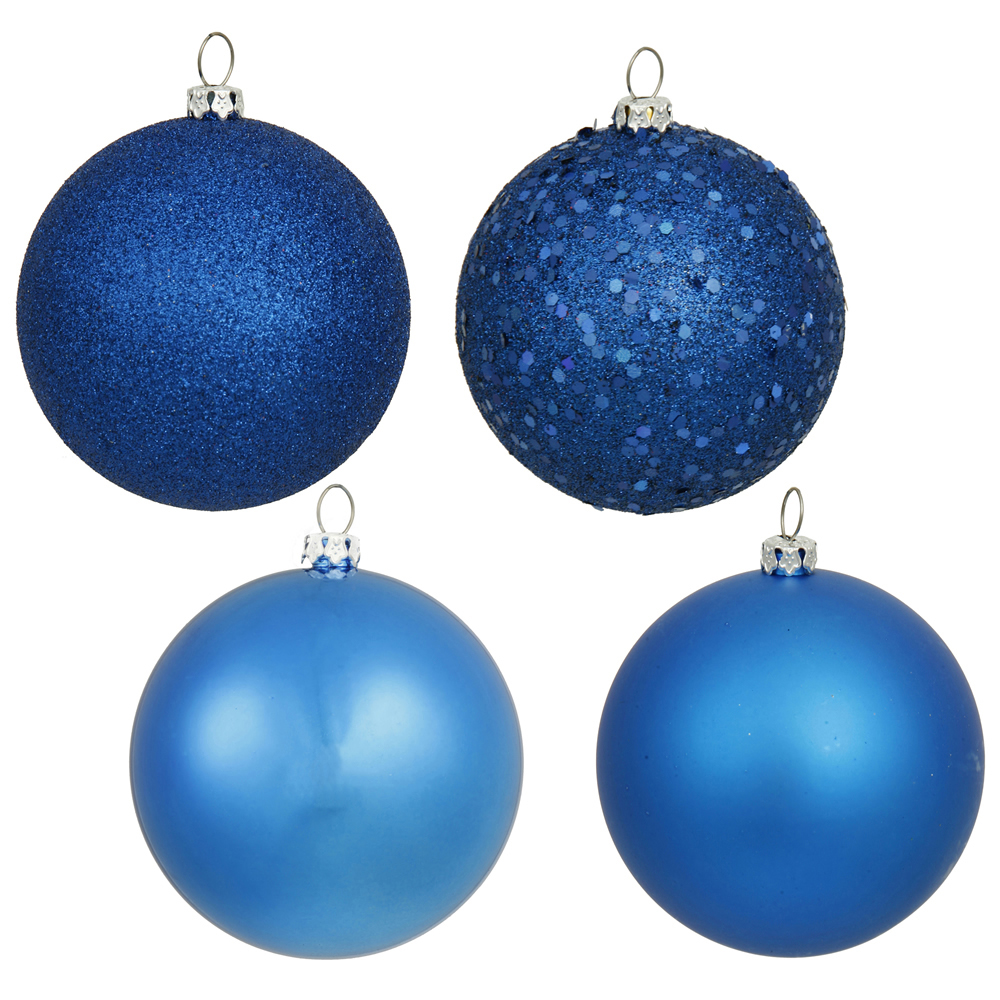 1 Inch Blue Christmas Ball Ornament Shatterproof Assorted Finishes Set of 18