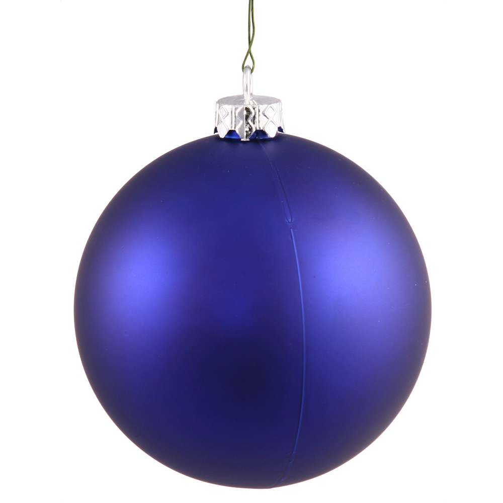 2.4 Inch Cobalt Blue Matte Finish Round Christmas Ball Ornament Shatterproof UV