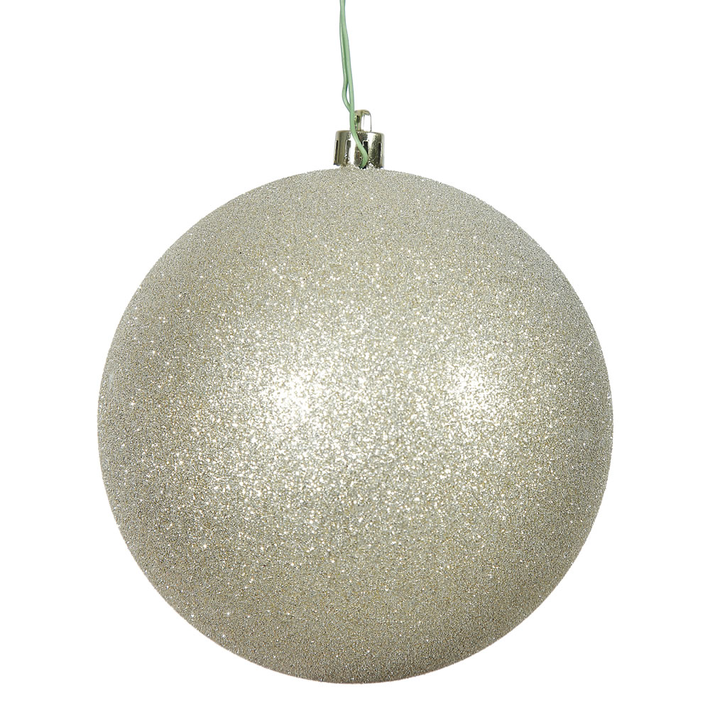 4 Inch Champagne Glitter Christmas Ball Ornament Shatterproof 6 per Set