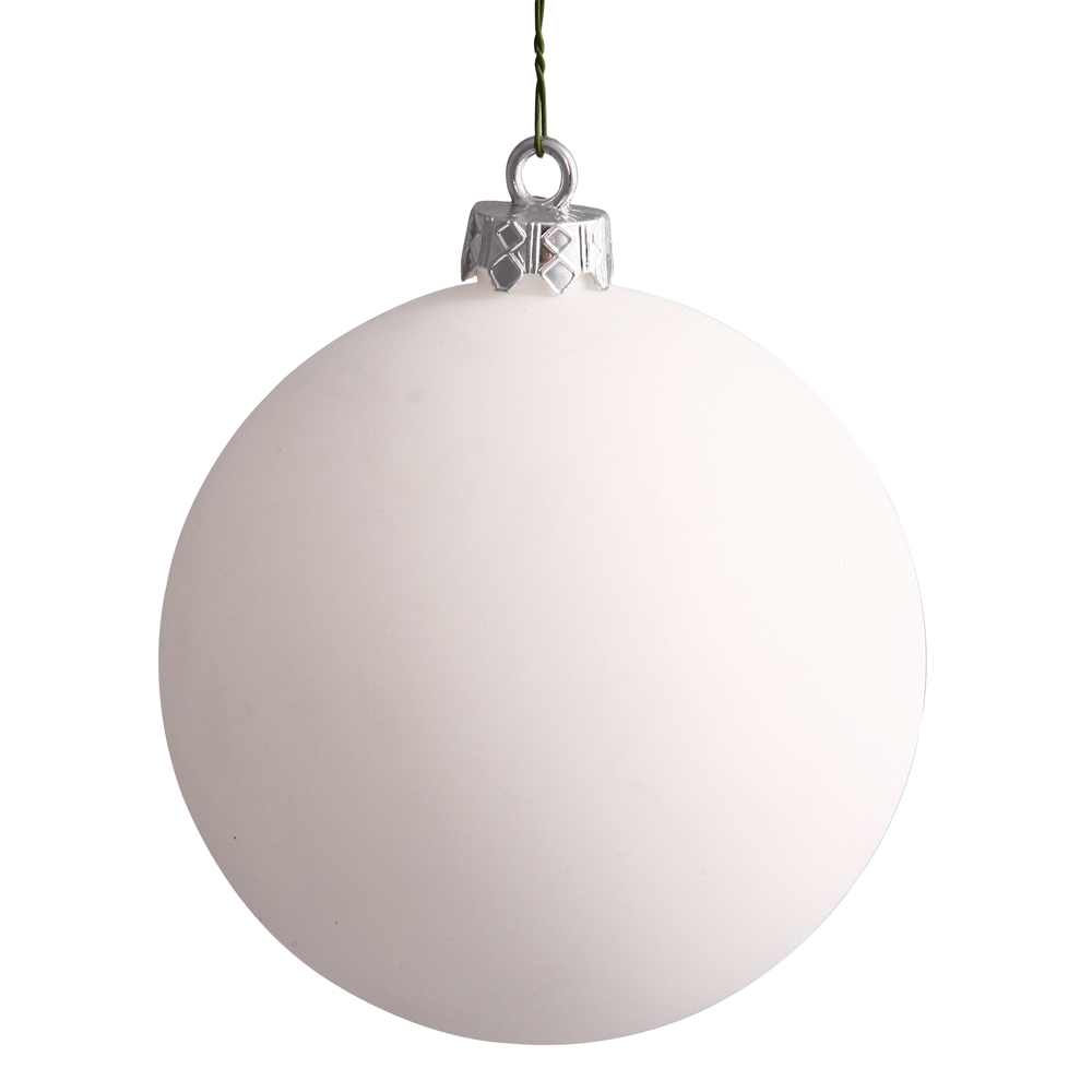 4.75 Inch White Matte Christmas Ball Round Ornament Set of 4