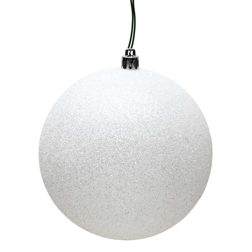 6 Inch White Glitter Round Shatterproof UV Christmas Ball Ornament 4 per Set