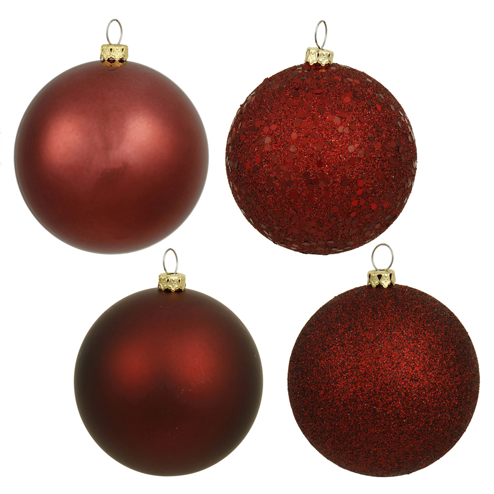 6 Inch Burgundy Assorted Finishes Round Christmas Ball Ornament 4 per Set