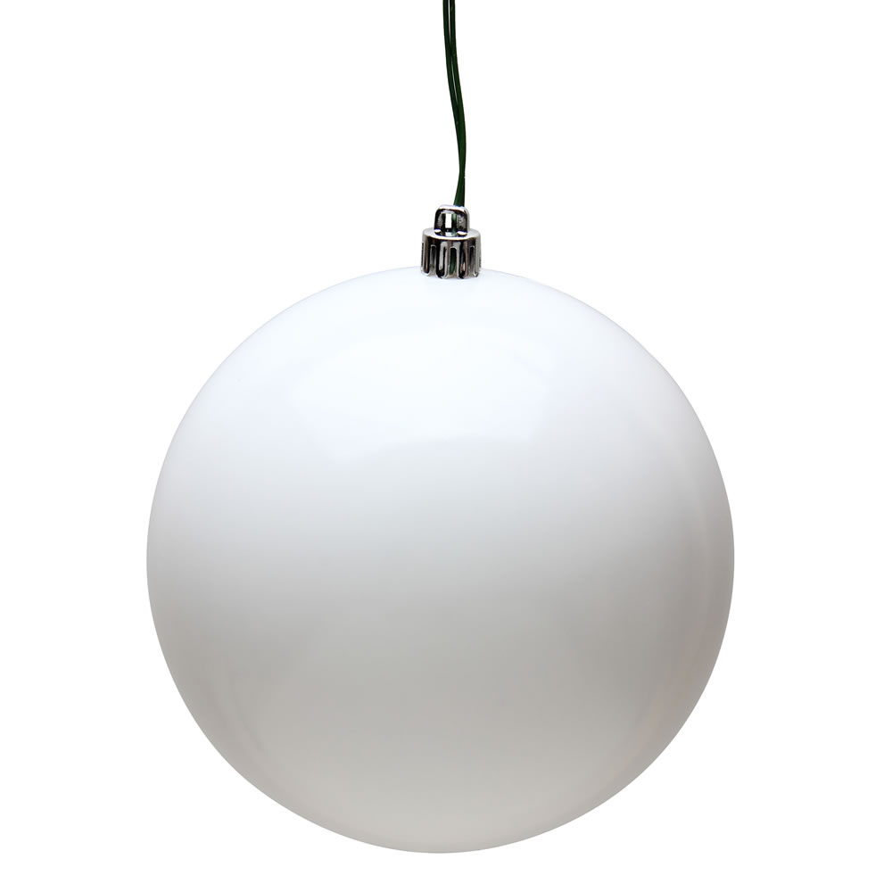 8 Inch White Candy Christmas Ball Ornament UV Shatterproof