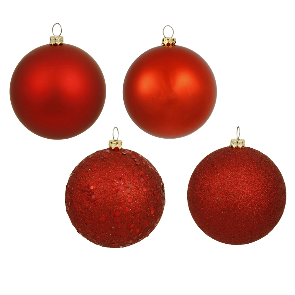 8 Inch Red Assorted Finishes Round Christmas Ball Ornament 4 per Set