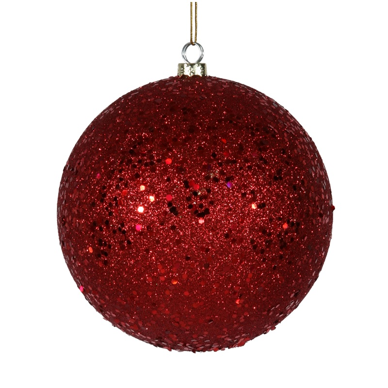 8 Inch Red Sequin Round Ornament