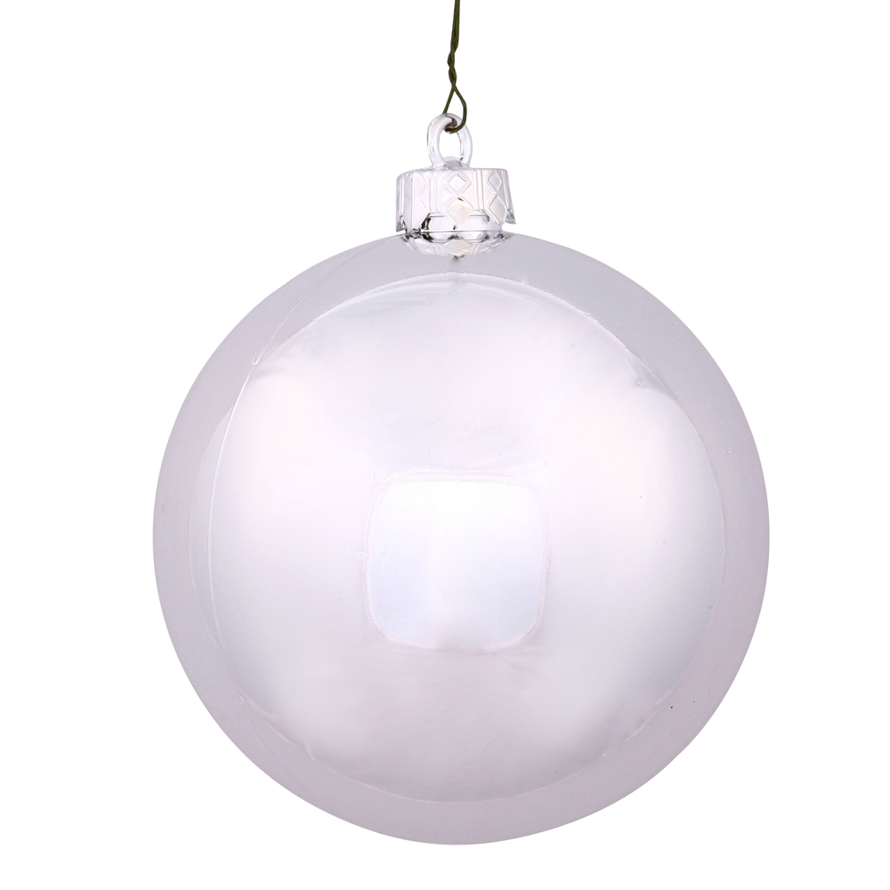 8 Inch Silver Shiny Ball Christmas Ornament