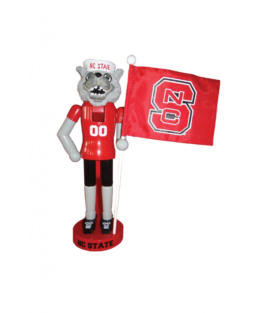 North Carolina State University Mascot with Flag Nutcracker Decoration