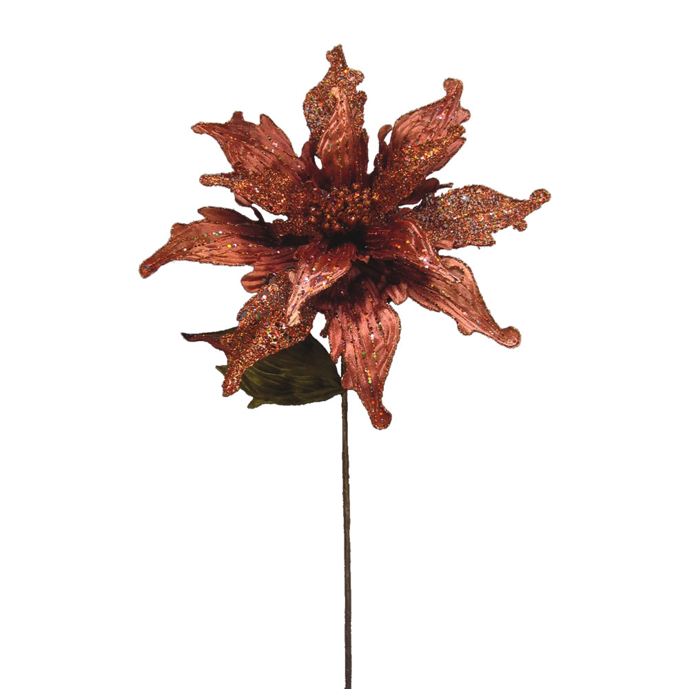 Chocolate Velvet Poinsettia Decorative Christmas Floral Pick