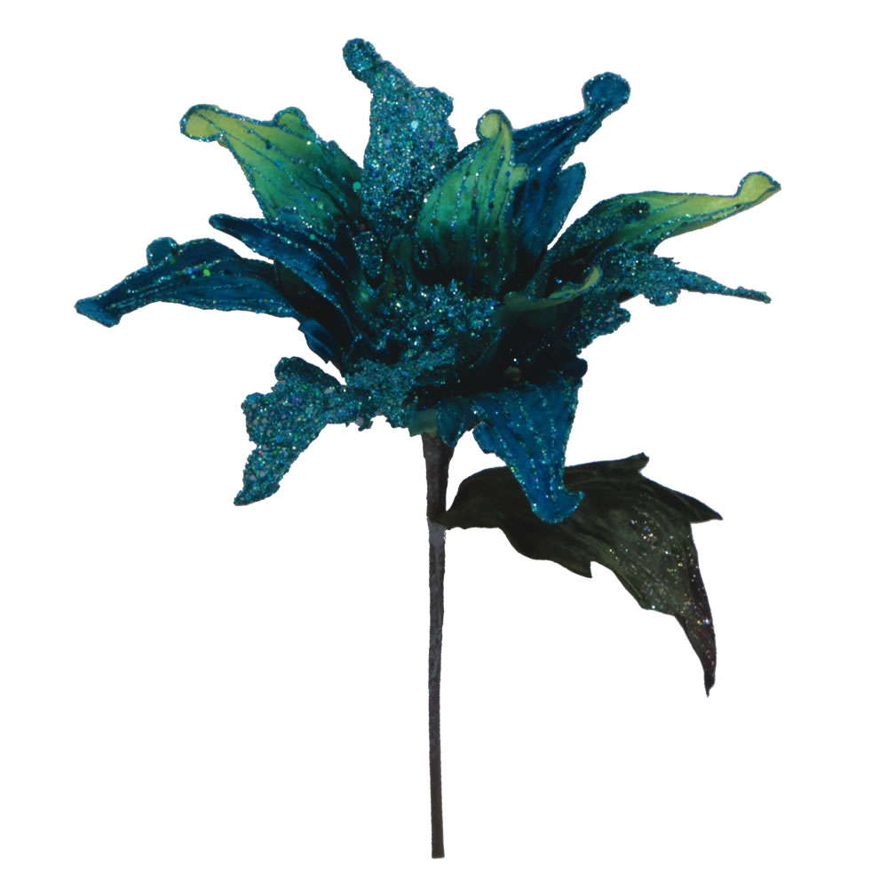 Peacock Velvet Poinsettia Decorative Christmas Floral Pick