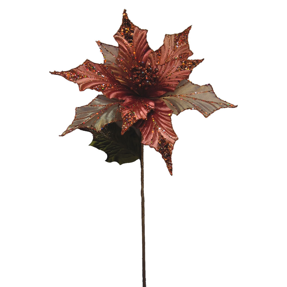 Copper Glitter Velvet Sheer Poinsettia Decorative Christmas Floral Pick