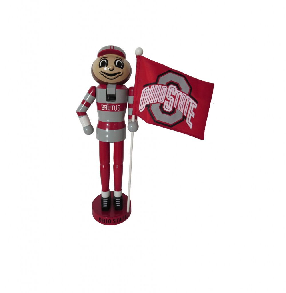 Ohio State University Mascot with Flag Nutcracker Decoration