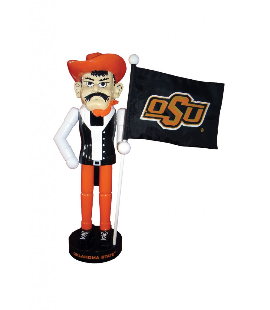 Oklahoma State University Mascot with Flag Nutcracker Decoration