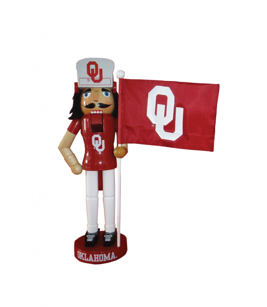 Oklahoma University Mascot with Flag Nutcracker Decoration