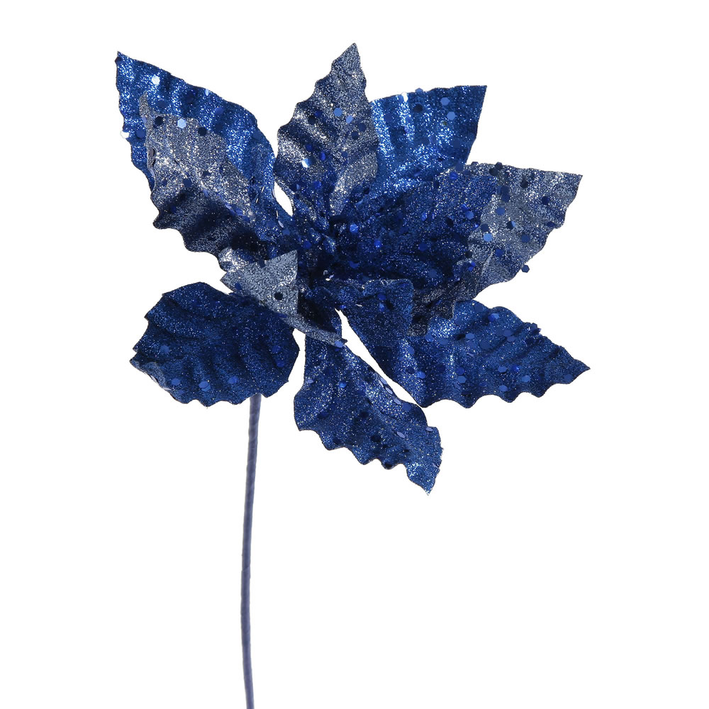Blue Sparkle Poinsettia Decorative Christmas Floral Pick