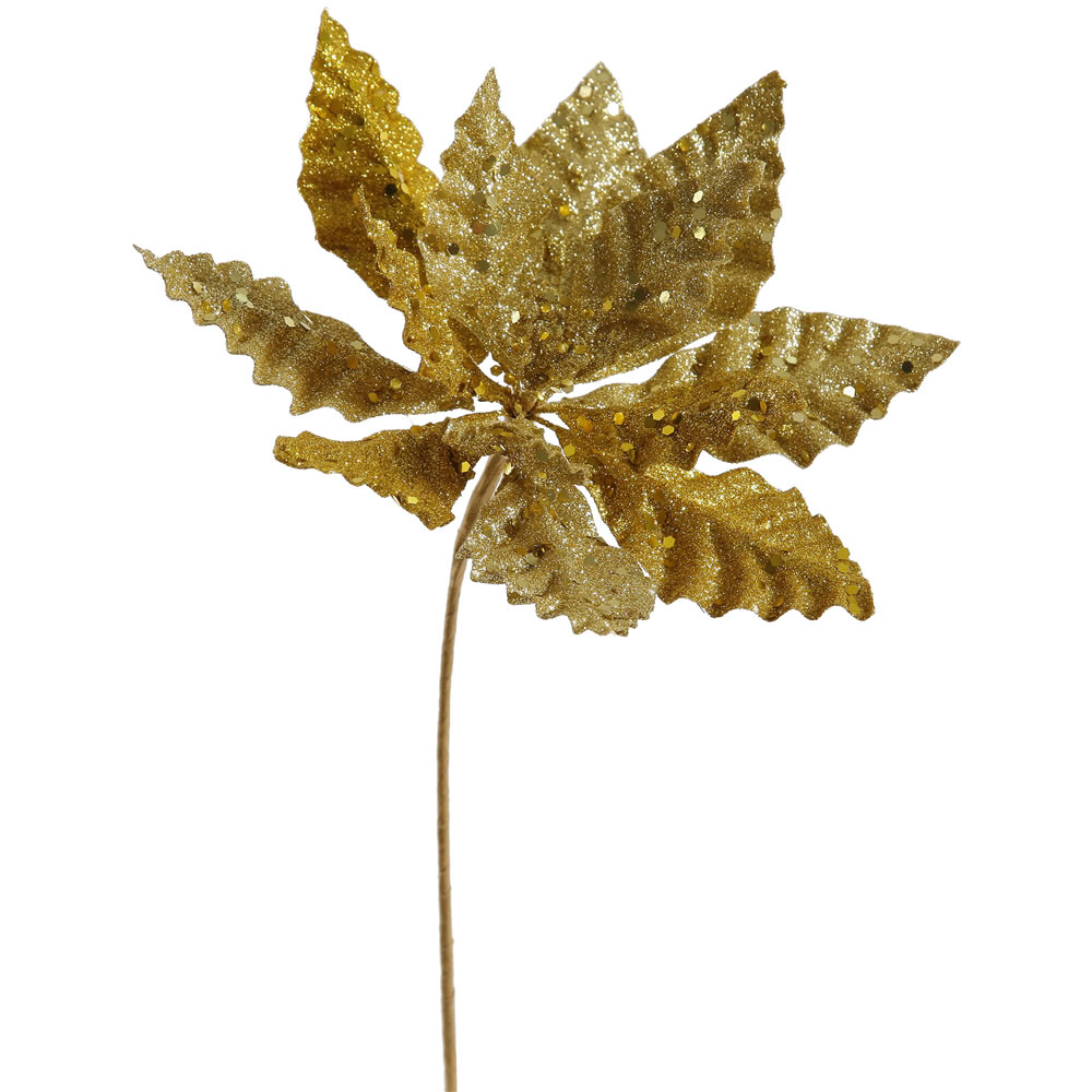 Gold Sparkle Poinsettia Decorative Christmas Floral Pick