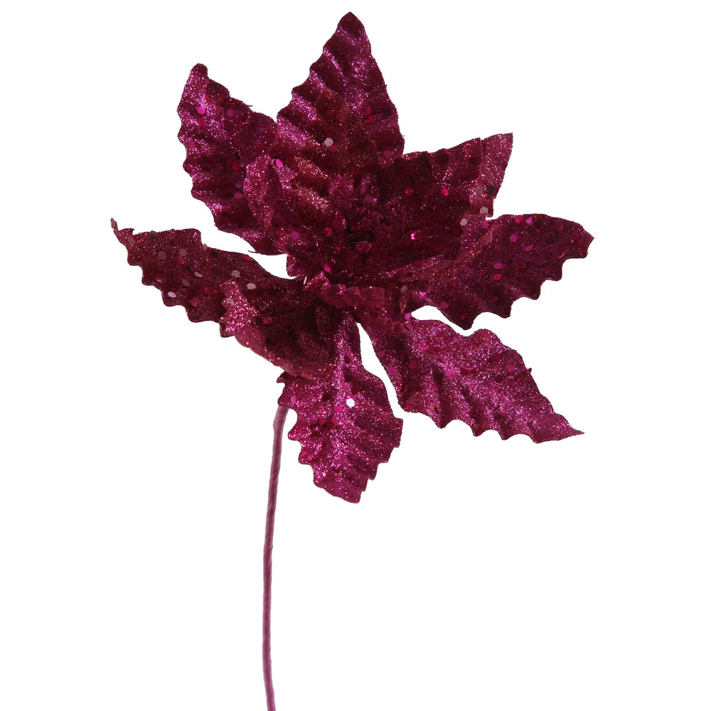 Cerise Pink Sparkle Poinsettia Decorative Christmas Floral Pick