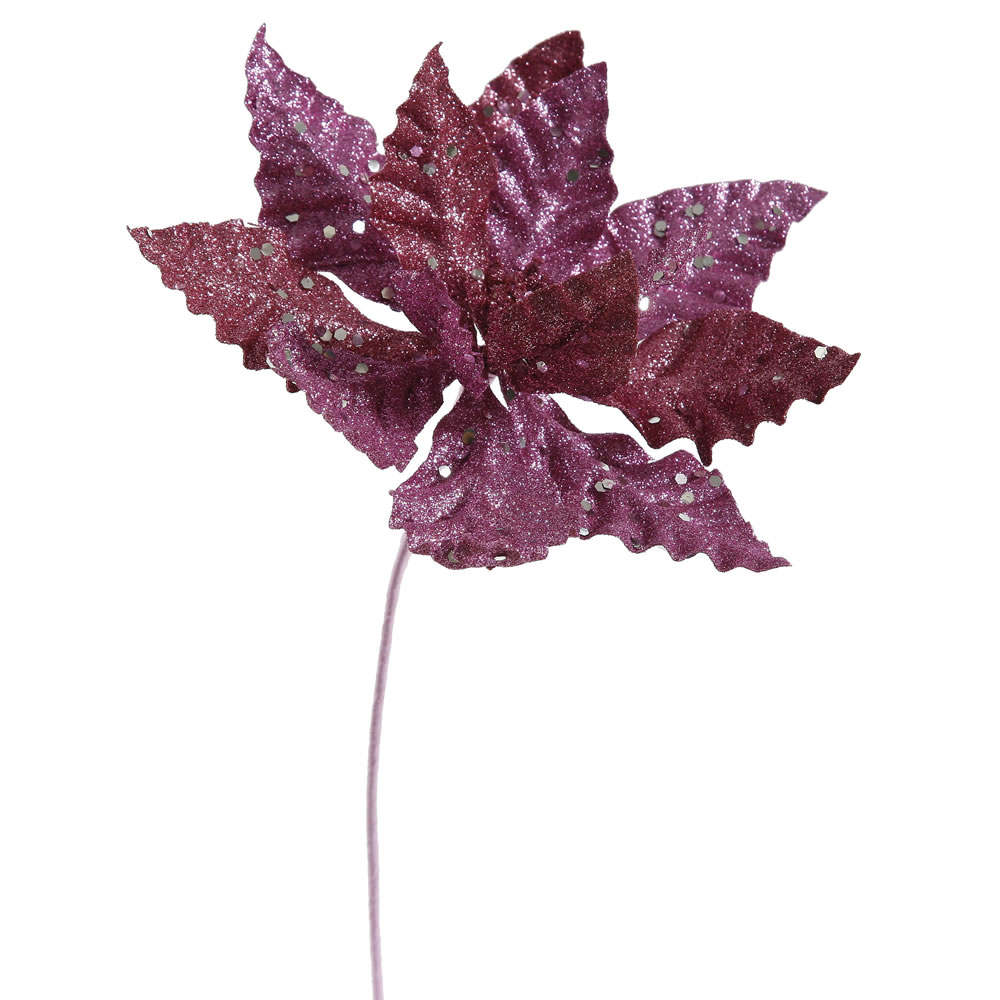 Magenta Sparkle Poinsettia Decorative Christmas Floral Pick