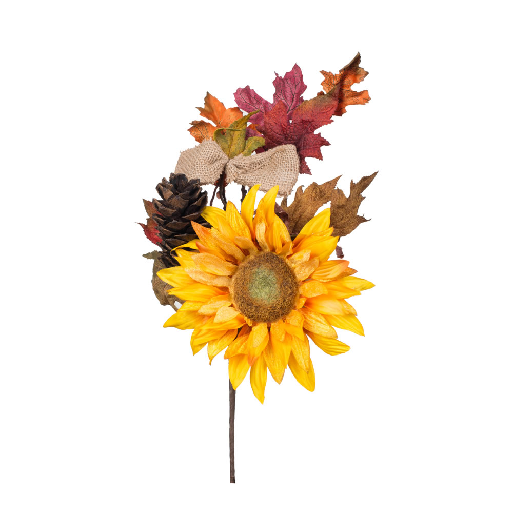 16 Inch Yellow Sunflower Burlap Pine Cone Harvest Decoration
