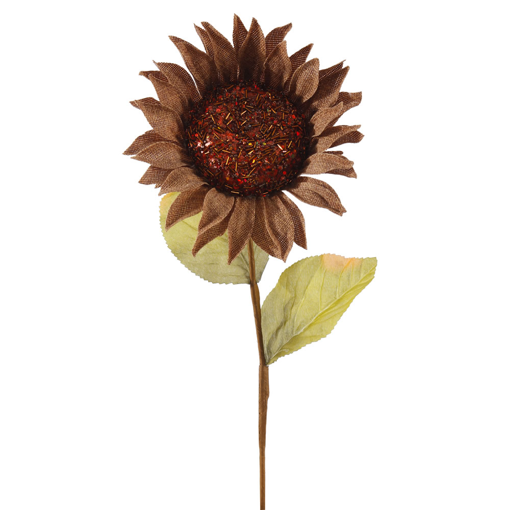 22 Inch Beige Burlap Sunflower Harvest Decoration