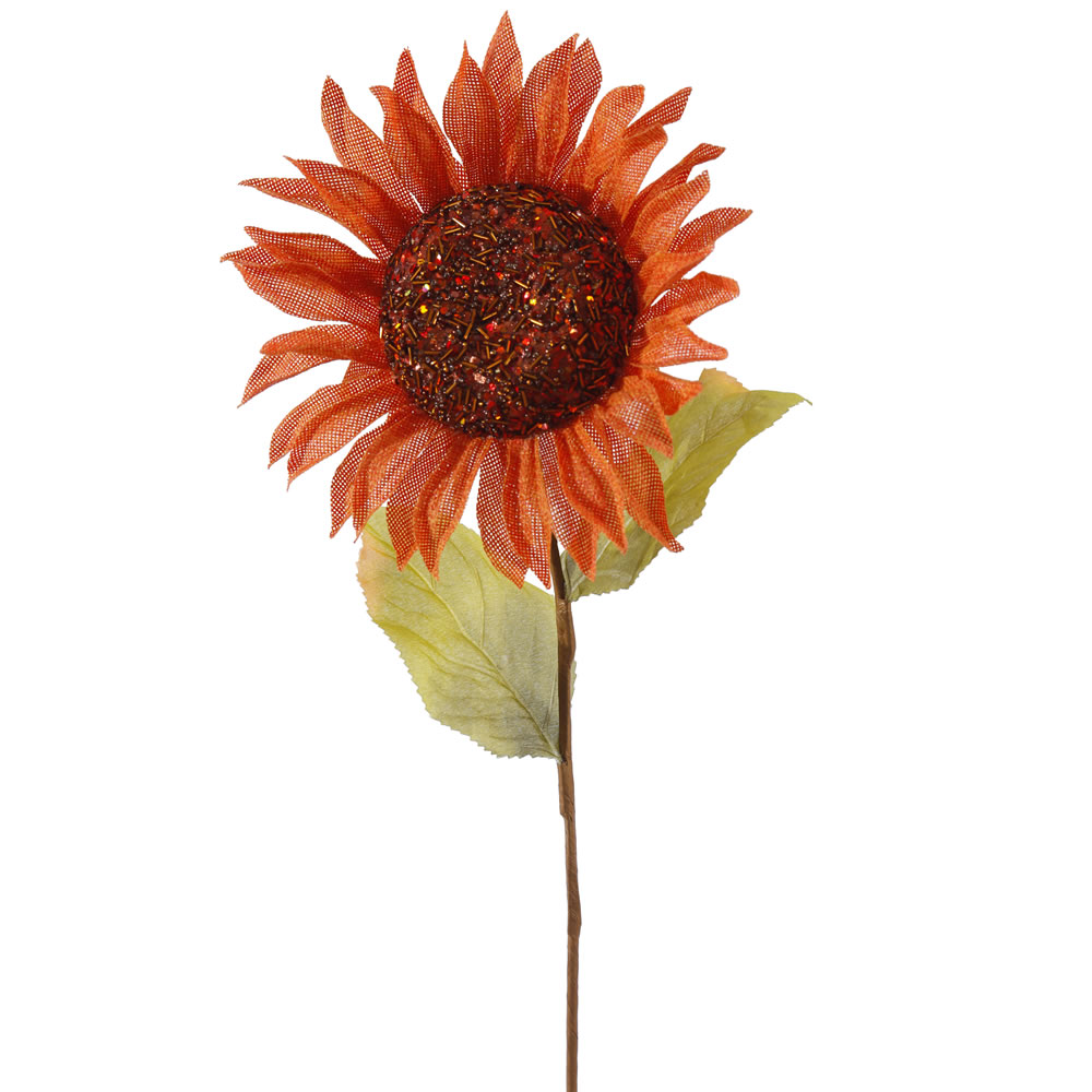 22 Inch Orange Burlap Sunflower Harvest Decoration