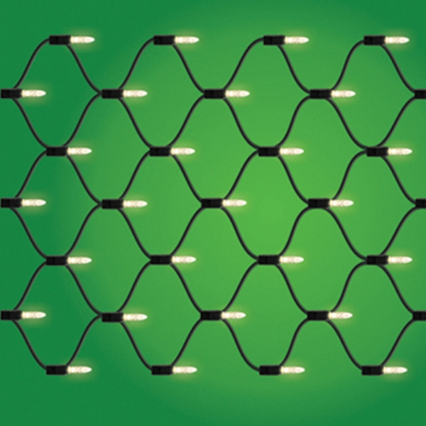 70 LED M5 Warm White Net Lights Green Wire Box of 6