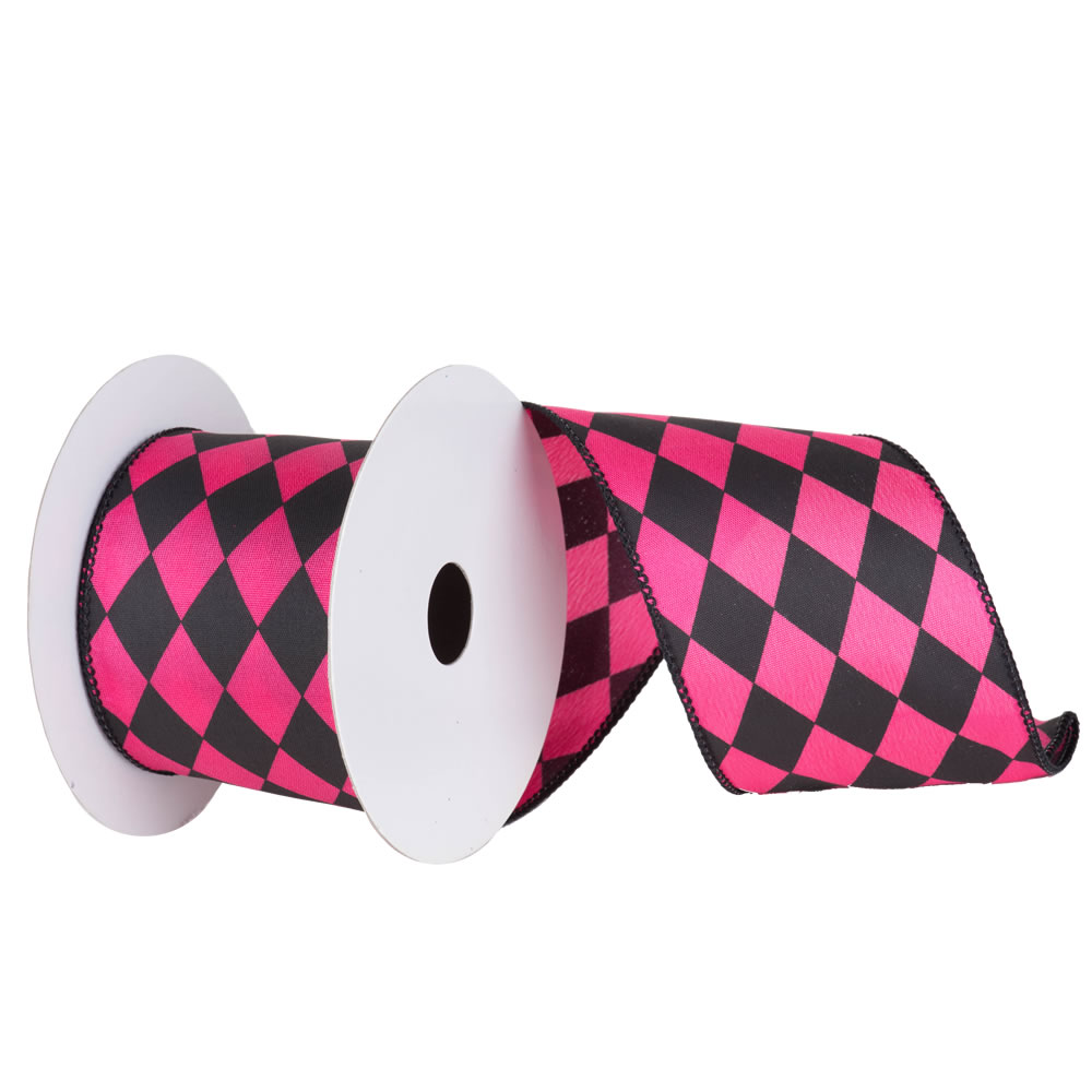 4 Inch Black and Magenta Diamond Christmas Ribbon 10 Yards