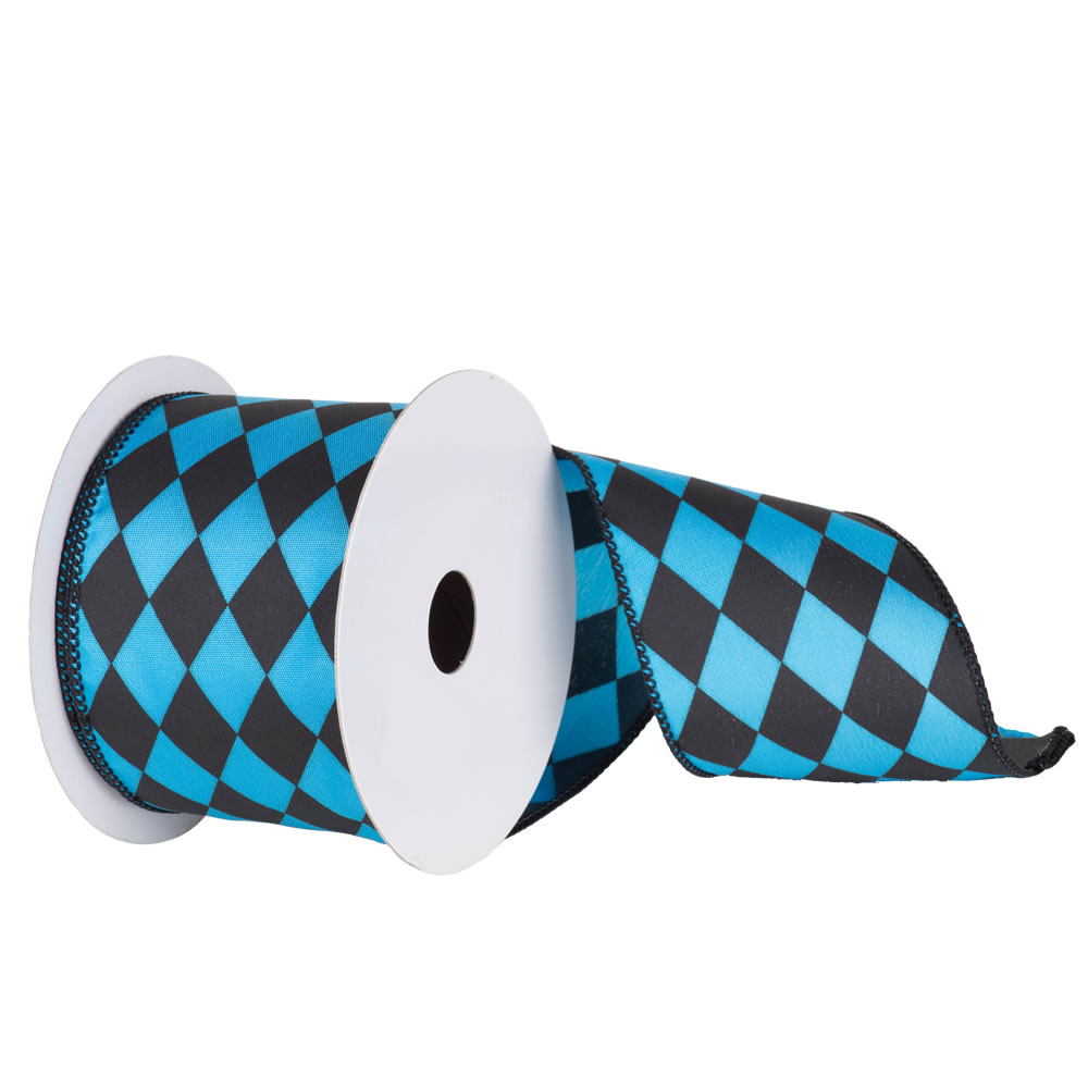 4 Inch Black and Sky Blue Diamond Christmas Ribbon 10 Yards