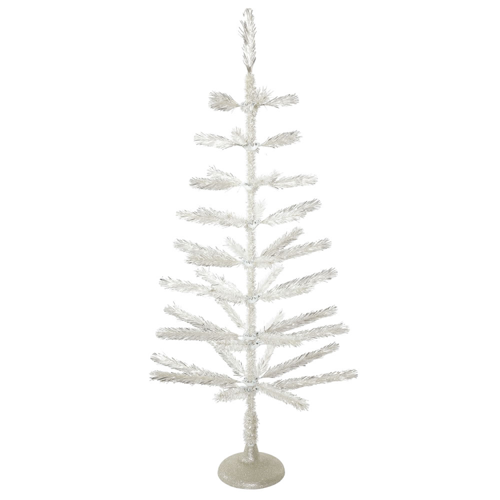 4 Foot Silver Feather Artificial Christmas Tree - Unlit