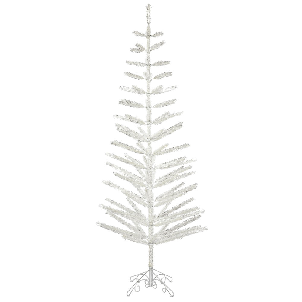 7 Foot Silver Feather Artificial Christmas Tree   Unlit