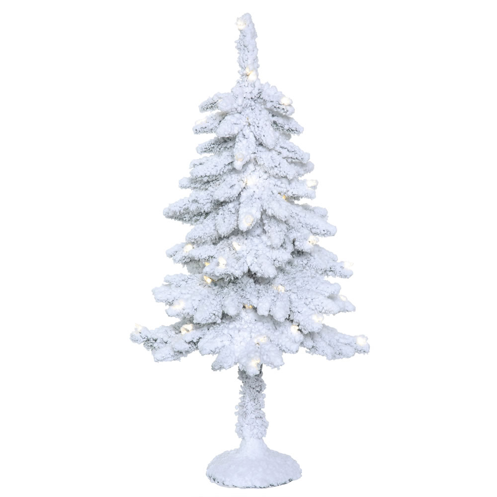 3 Foot Snowy Alpine Artificial Christmas Tree - 50 LED M5 Italian Warm White Mini Lights