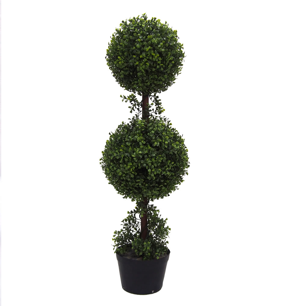 3 Foot Green Boxwood Double Ball Topiary Artificial Potted Tree UV
