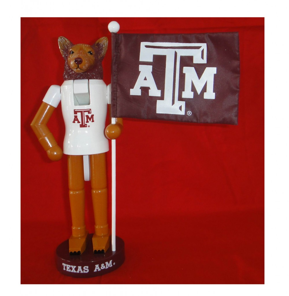 Texas A&M College Mascot with Flag Nutcracker Decoration