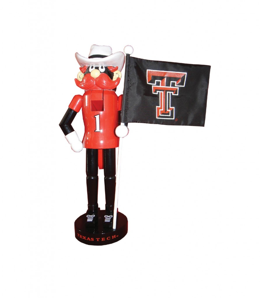Texas Tech College Mascot with Flag Nutcracker Decoration