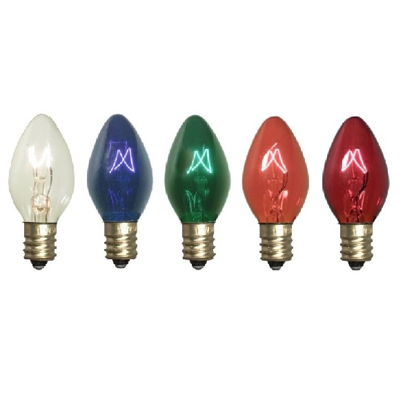 25 Incandescent C7 Multi Color Twinkle Transparent Retrofit Night Light Replacement Bulbs